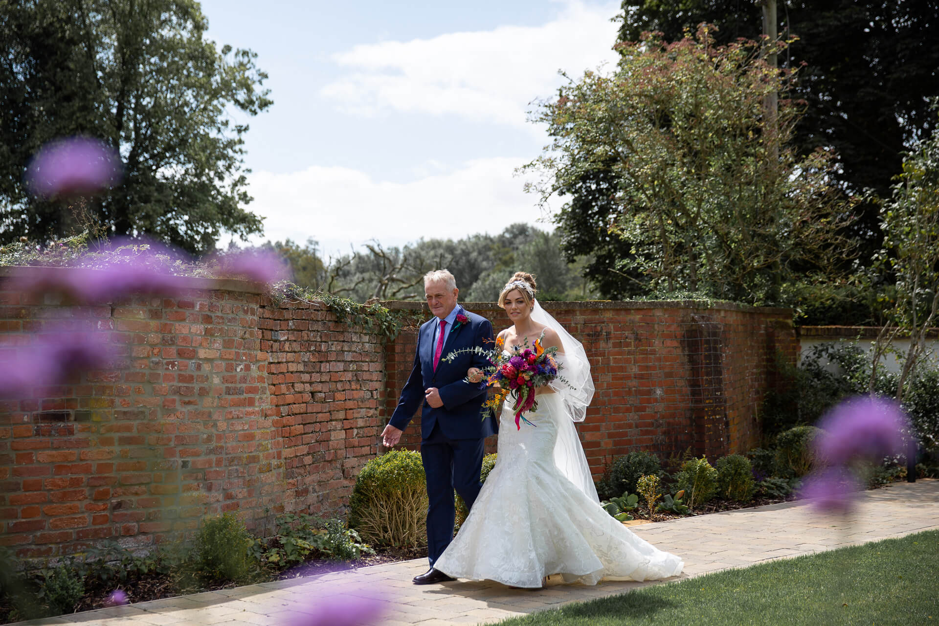 Father and Bride in the Walled Garden before the ceremony